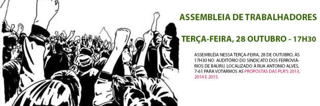 Assembleia do SINDECTEB para votarmos a proposta das PLR's 2013, 2014 e 2015