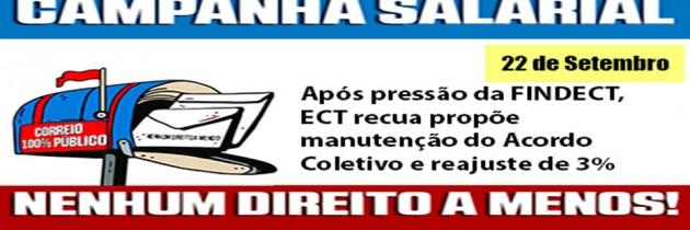 Após pressão da FINDECT, ECT recua e propõe manutenção do Acordo Coletivo e reajuste de 3%