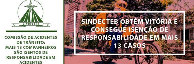 Comissão de Acidentes de Trânsito: SINDECTEB obtém vitória e consegue isenção de responsabilidade em mais 13 casos